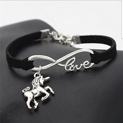 Unicorn and Love Armband zwart – armband – eenhoorn