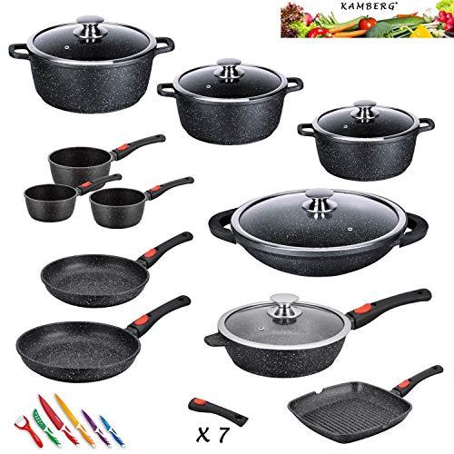 Kamberg 0008162 - Batería de cocina (27 piezas, hierro fundido, revestimiento de piedra, apta para todo tipo de cocinas, incluida inducción, mango extraíble, sin PFOA)
