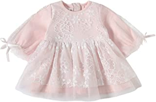 Xifamniy Infant Girls Sweet Dress Tulle Lace Flower Design Round Neck Cotton Daily Dress