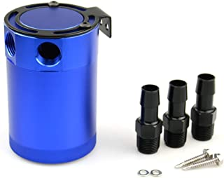 Tasan Racing Universal Aluminum Baffled 3-Port Oil Catch Can/Tank/Air-Oil Separtor 2 Inlets 1 Outlet Blue