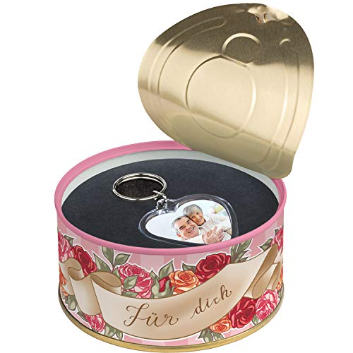 Nessando Schlüsselanhänger Personalisiert in der Dose Herzform doppelseitig einzeln Farbe Dose und Bild wählbar (Rosa, Für Dich)