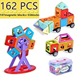 Magnetic Building Blocks, Magnetic Toys 3D Magnetic Building Tiles 162 pcs(107magnetic blocks+ 55 blocks) for Kids Creative Educational Construction Magnet Block Toys for Children +Storage Bin