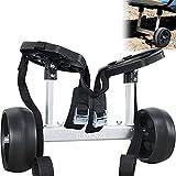 ILOKNZI Quick-Detachable Lightweight Aluminum Kayak Trolley Cart with Widebody No-Flat Tires & Strong Load Capacity (Short Shaft-Black & Webbing)