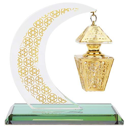 Oumefar 1pcs Muslim Crystal Decorative Model Islamic Moon Shaped Palace Handicrafts Souvenirs for Car Decor