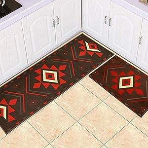 LXESWM 2 Pc Kitchen Rugs Set Non-Slip Kitchen Mats Kitchen rug mat 2 pcs set, Nonslip Machine washable long Strip carpet Doormat bathroom bedroom Bedside accessories,A,40 * 60+40 * 120cm