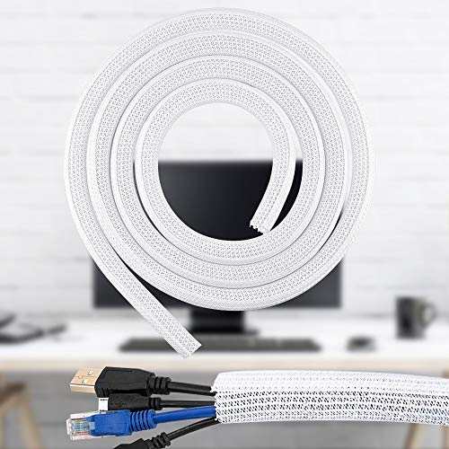SSPECOTNR Kabelkanal Selbstschließend Kabelschlauch 3Meter Lang 6MM Durchmesser Kabelschutz Zuschneidbar Kabelschlauch für Ladekabel Fahrrad Auto Verstecken im Schreibtisch TV Boden Weiß