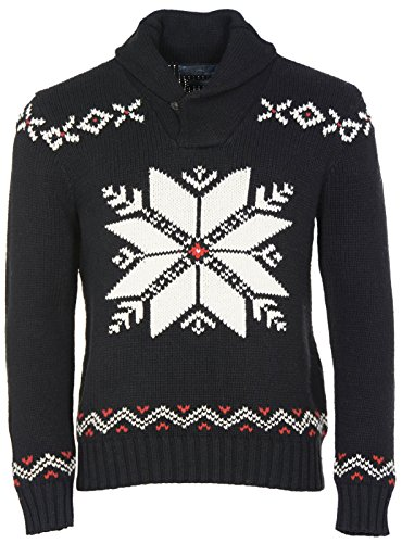 Polo Ralph Lauren Mens Thick Cotton Shawl Sweater Large Black White & Red Winter