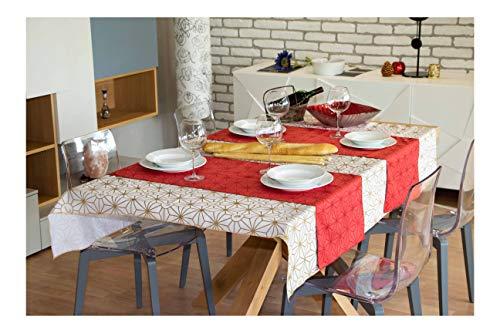 Nastrotecnica Tovaglia Natalizia Impermeabile Rettangolare, tovaglia di Natale con Runner Natalizio da Tavolo, Made in Italy