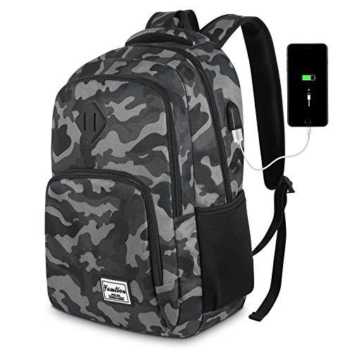 Mochila Hombre Mochila Portatil con USB Puerto para Escolar Negocio- 35L (15.6 Pulgada, B6-Camuflaje Negro)