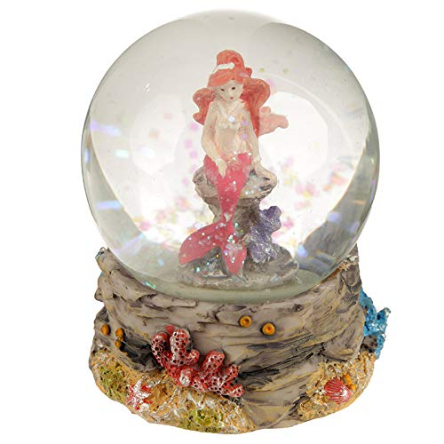 Storchenlädchen Glitzerkugel Meerjungfrau rosa Schneekugel Figur Schneekugeln Nixe Schüttelkugel