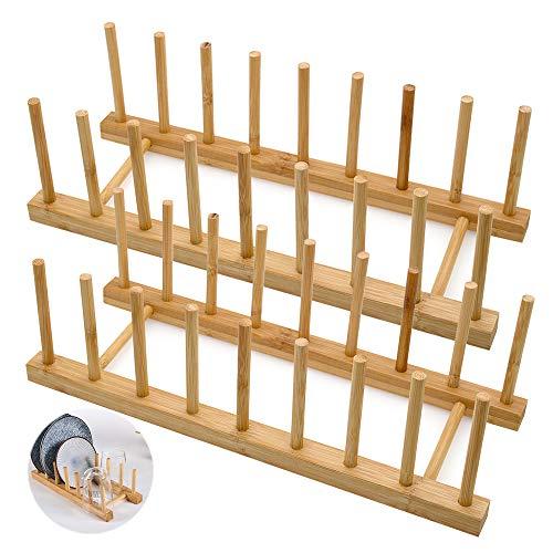 LZYMSZ Juego de 2 estantes de madera de bambú, soporte para platos, soporte para tapa de olla, organizador de gabinete de cocina para cuencos, tazas, tablas de cortar y más