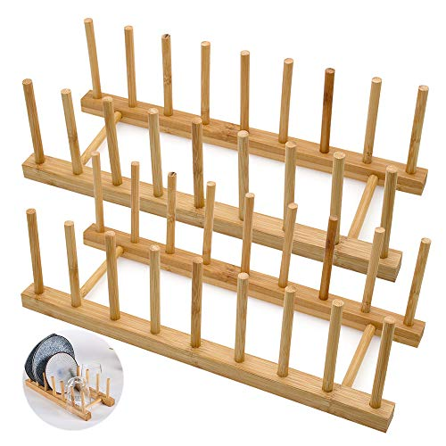 LZYMSZ Set of 2 Bamboo Wooden Dish Rack, Plate Rack Stand Pot Lid Holder, Kitchen Cabinet Organizer for Bowl, Cup, Cutting Board and More