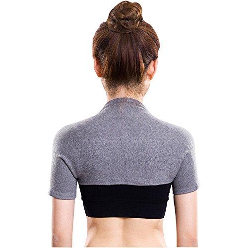 肩サポーター 両肩用 防寒保温 伸縮 通気 五十肩予防に 冷え性 肩こり 対策にも 長袖/半袖 男女兼用 (半袖スタイル, Large)