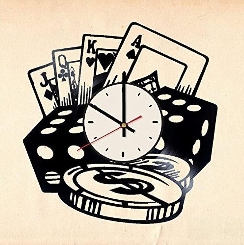 Poker Vinyl Wall Clock Texas Hold Em Unique Gifts Living Room Home Decor