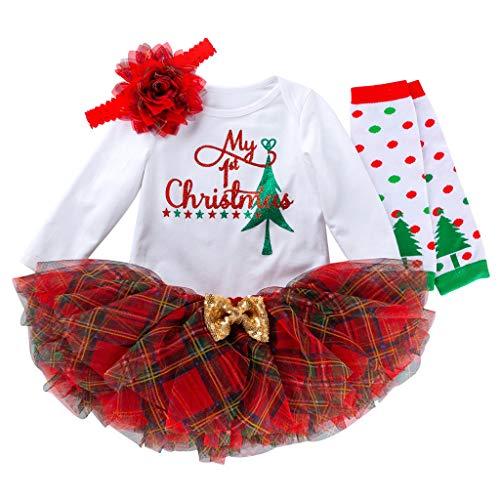 Fossen Kids - Pijamas Casero de Recién Nacido Bebé Navidad, Calcetines de Lunares + My First Chirstmas Mono + Tutú a Cuadros + Diadema 4 PC