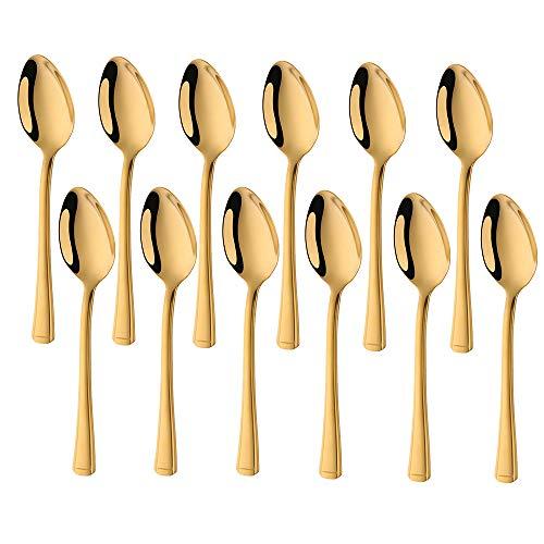 Meisha Edelstahl Teelöffel, 12er-Set, Harley Teelöffel für Zuhause, Küche oder Restaurant - Gold