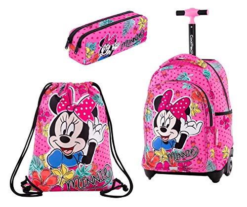 Minnie Tropical set Zaino Trolley + Astuccio 2zip + Sacca Sport Scuola Elementare per Bambina Ragazza