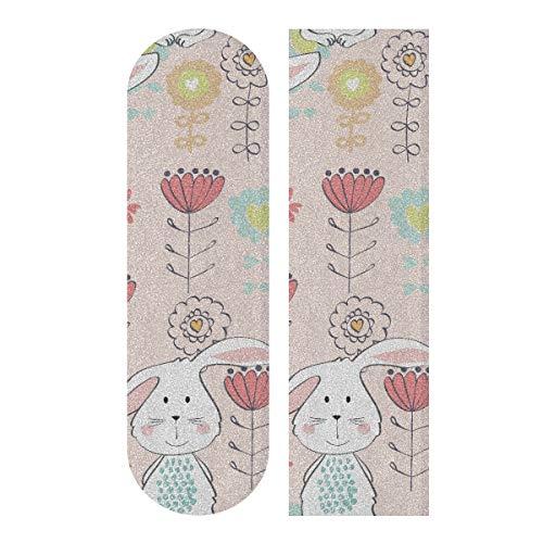 N\A 33,1 x 9,1 Zoll Sport Outdoor Grip Tape Bunny Nettes Kinderkaninchen mit Blumen Druck Wasserdichtes Skateboard Sandpapier für Tanzbrett Double Rocker Board Deck 1 Blatt