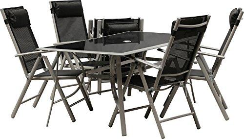 IB-Style® - Top Gartenmöbel Jamaica Gartengarnitur Alu/Textilen | 6 Kombinationen in 2 Abmessungen wählbar | Gartentisch schwarzglas | Sitzgruppe - 9-Teilig Tisch 150 x 90 cm Schwarzglas