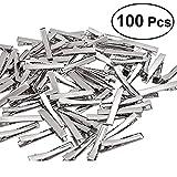 Ultnice Lot de 100pinces à cheveux crocodiles en métal, plates, 4cm