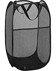P-Plus International Mesh Popup Laundry Hamper - Portable, Durable Handles, Collapsible for Storage and Easy to Open Folding Pop-Up Clothes Hampers Kids Room, College Dorm (Sqaure Black)