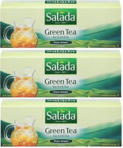 Salada Green Tea For Iced Tea - Family Size 24 Count Tea Bags - 3 Pack