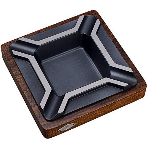LIXBB HAOYANGYHG- Cenicero de Madera Maciza Moderno Negocio Metal Ashtray Sala de Estar Decoración de Oficina Accesorios de cigarros YHGGHJG-105 (Color : Black, Size : 18cm*4cm)