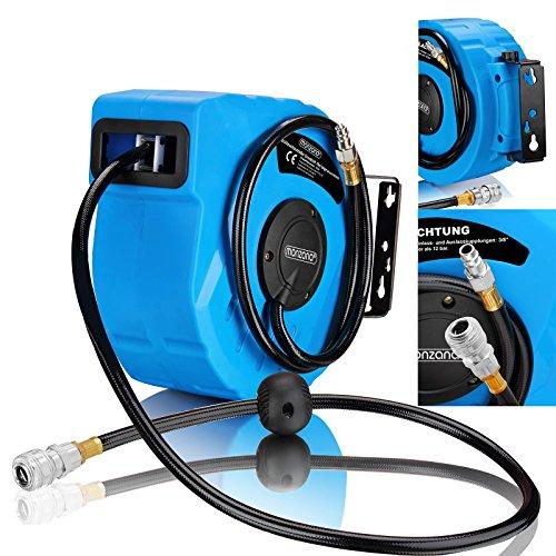 Deuba Druckluftschlauch Aufroller automatisch 10m 1/4' Anschluss Schlauchtrommel Abroller Schlauchaufroller