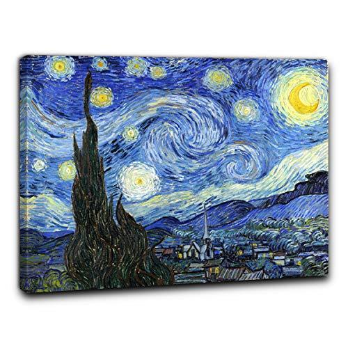 Niik Quadro + Telaio (BC) Notte Stellata di Vincent Van Gogh 60 x 49 x 1,7 cm Falso d'autore Stampa su Tela