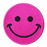 Graphic Dust Pink Happy Face Full Embroidered Iron On Patch Funny Cute Love Peace Emotion Logo Sign Symbol Jacket Jean Uniform Costume Backpack Bag DIY Happy Peace Smile Funny