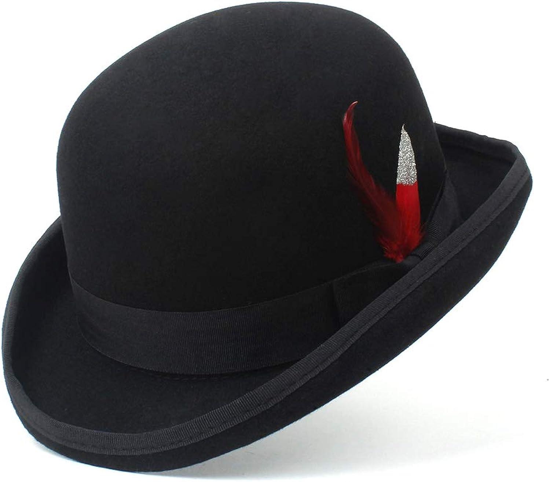 Ruiyue 100% Wool Hat Fashion Black Cap Bowler Hats Black Wool Felt Derby Bowler Hats for Women Men