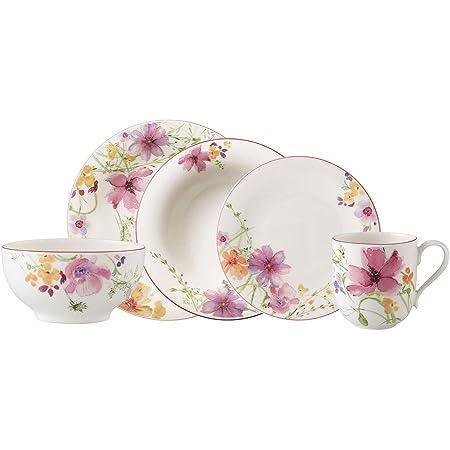 Villeroy & Boch Mariefleur Basic Service de table pour 2 personnes, 10 pièces, Porcelaine Premium, Blanc/Multicolore