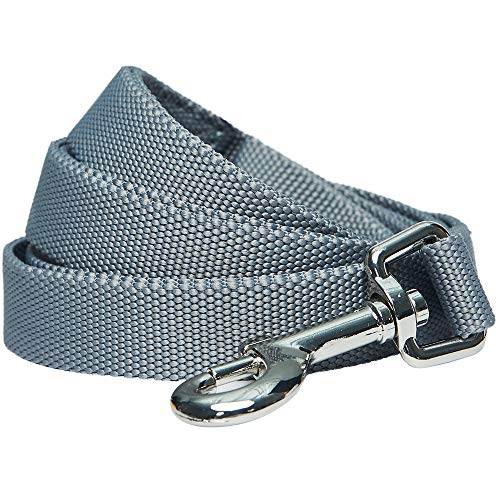 UMI. Essential – Robuste, Klassische, einfarbige Hundeleine 150cm x 2cm in Grau, Medium, einfache Hundeleine