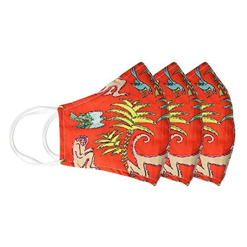 Arancia Palm Beach Palma Stampa Moda Mascherine Facciale in Tessuto Stoffa Copertina de Bocca Lavabile Riutilizzabile Con Filtro Tascabile e Filo Per Il Naso Per Donne Per Uomo 3 Pezzi