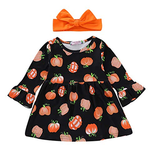 Infant Toddler Girls Halloween Dress Pumpkin Pattern Long Sleeve Party Dress Costume with Headband Bowtie Outfits (4-5 Years, Black)