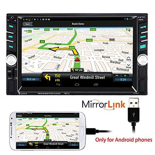 PolarLander Autoradio Bluetooth, Manos Libres Radio Estéreo De Coche, Llamadas Manos Libres, Enlace Espejo Para Teléfono Inteligente Android, 2 DIN/FM/Dos Puertos USB/TF/AUX IN/Control Remoto