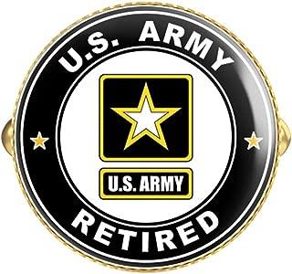 HOF Trading US Army Retired Round Gold Cufflink Set