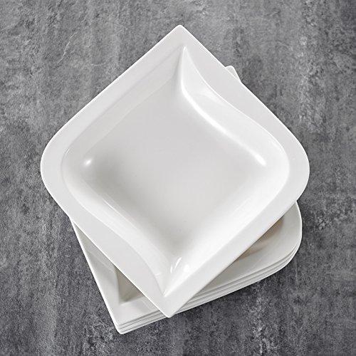 MALACASA, Serie Joesfa, 12 teilig Set CremeWeiß Porzellan Suppenteller 8,5 Zoll / 21,5x21,5x5 cm für 12 Personen