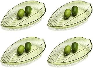 Set of 4 Oval Green Leaf Shaped 12