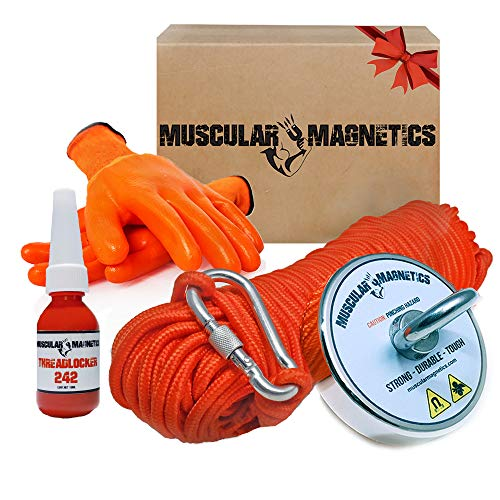 925lb Fishing Magnet Bundle Pack - Includes 6mm 100ft High Strength Nylon Rope with Carabiner, Non-Slip Rubber Gloves & Super Strong Pulling Force Rare-Earth Magnet (Complete Kit)