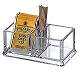 Scatola porta bustine the in plastica con 2 scomparti,Porta bustine da tè in acrilico, ca...