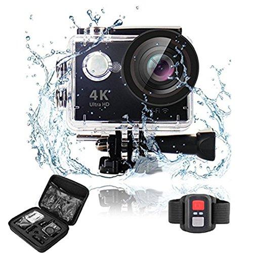 Action Camera Sport Cam WiFi 2.4 GHz Telecomando 4K Full HD 1080P 170° Grandangolare 2.0 Pollici Impermeabile 30M e Kit Accessori per Ciclismo Nuoto e altri Sport Esterni Videocamera Fotocamera Sport (Nero)