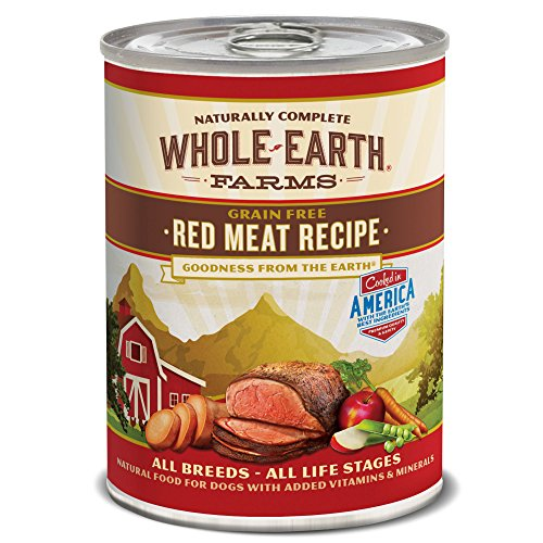 Whole Earth Farms Grain Free All Breed All Life Stages Wet Dog Food Red Meat Recipe (12) 12.7 oz Cans
