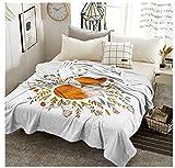 XZDPPTBLN Mantas de Franela Súper Suave de Lana Zorro Animal Amarillo Mantas con Estampados Esponjosa y Cálida Mantas para la Cama y el Sofá 130cm x 150cm