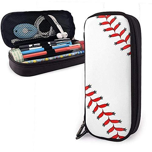 Baseball Softball Schnürsenkel Bleistiftetui Schulstifttaschen Bleistift Stationäre Beuteletui Schminktasche PU Leder-9Q2-DM
