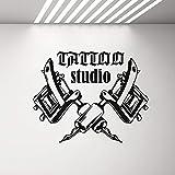 yaonuli Máquina de Tatuaje Pegatinas de Pared salón de Tatuajes decoración de la habitación Pared de Vinilo Apliques Logo decoración de Papel Tapiz 53x42cm
