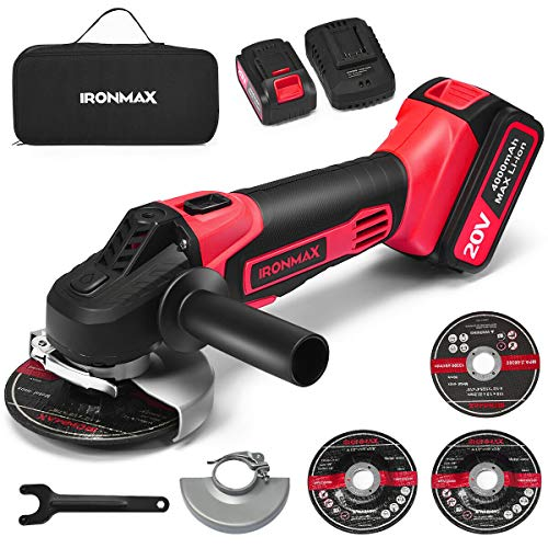 Goplus Cordless Angle Grinder, 4-1/2 Inch, 9000RPM with 4.0Ah Lithium-Ion Battery & Fast Charger, 20V Angle Grinder Tool with 3-Position Adjustable Auxiliary Handle, 2 Grinding Wheels, 1 Cutting Wheel