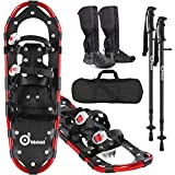 Odoland 4-in-1 Snowshoes Snow Shoes for Men and Women with Trekking Poles, Carrying Tote Bag and Waterproof Snow Leg Gaiters, Lightweight Aluminum Alloy Snow Shoes, Red, Size 21''