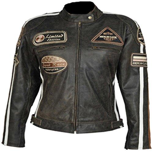 Motorrad Damen Retro Lederjacke Größe 44