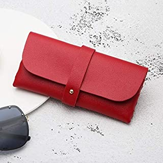 Sunglasses Fashion Accessories Portable Cortical Manually Pouch Glasses Box Sunglasses Box PVC Leather (Color : Red, Size : 16.8 * 7.6 * 2.8)
